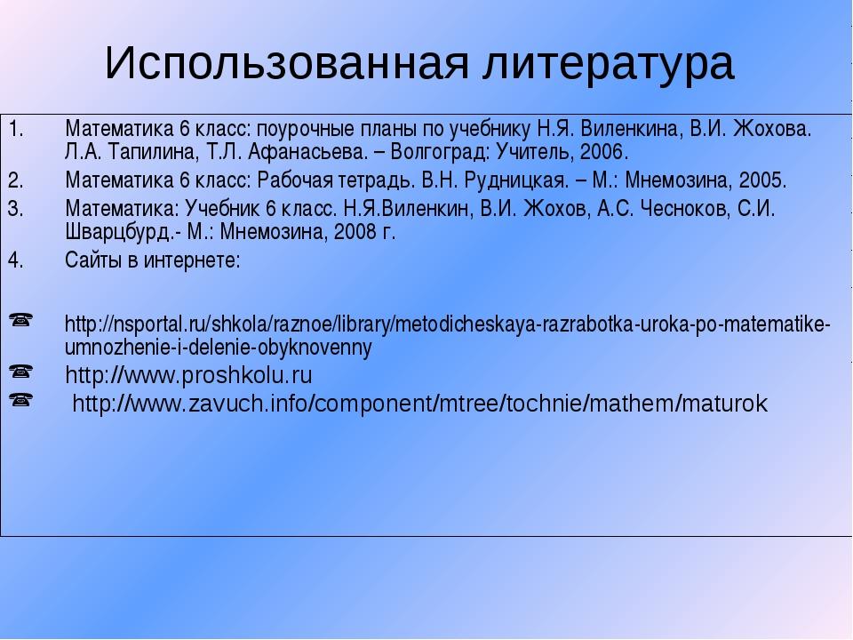 Использованная литература Математика 6 класс: поурочные планы по учебнику Н.Я...