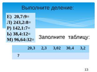 Выполните деление: Е) 20,7:9= Л) 243,2:8= Р) 142,1:7= Ь) 38,4:12= М) 96,64:32