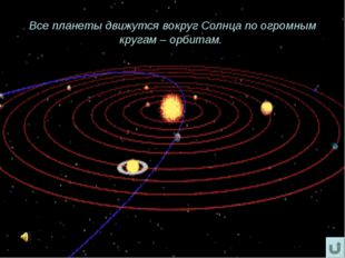 Все планеты движутся вокруг Солнца по огромным кругам – орбитам.