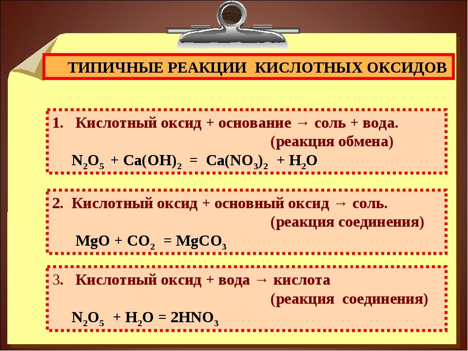 ТИПИЧНЫЕ РЕАКЦИИ КИСЛОТНЫХ ОКСИДОВ Кислотный оксид + основание → соль + вода...