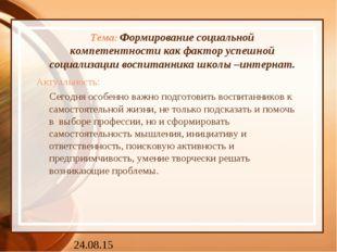 Тема: Формирование социальной компетентности как фактор успешной социализаци