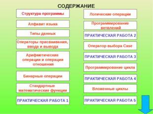 Структура программы СОДЕРЖАНИЕ Алфавит языка Типы данных Операторы присваиван