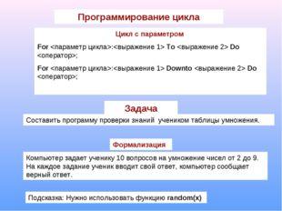 Программирование цикла Цикл с параметром For : To  Do ; For : Downto  Do ; За
