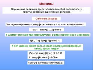 Массивы Переменная величина представляющая собой совокупность пронумерованных