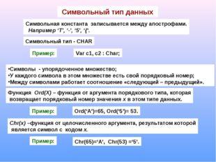 Символьный тип данных Символьная константа записывается между апострофами. На