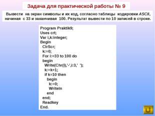 Задача для практической работы № 9 Вывести на экран символы и их код, согласн