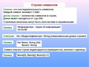 Строки символов Строка –это последовательность символов. Каждый символ занима