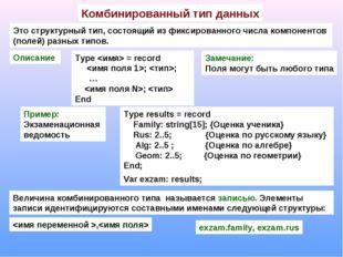 Комбинированный тип данных Это структурный тип, состоящий из фиксированного ч