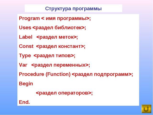 Program < имя программы>; Uses ; Label ; Const ; Type ; Var ; Procedure (Func...