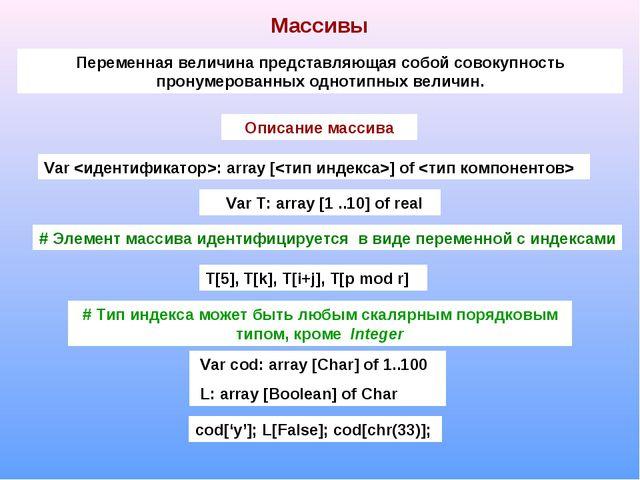 Массивы Переменная величина представляющая собой совокупность пронумерованных...