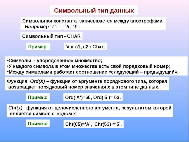 Символьный тип данных Символьная константа записывается между апострофами. На...