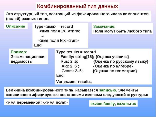 Комбинированный тип данных Это структурный тип, состоящий из фиксированного ч...