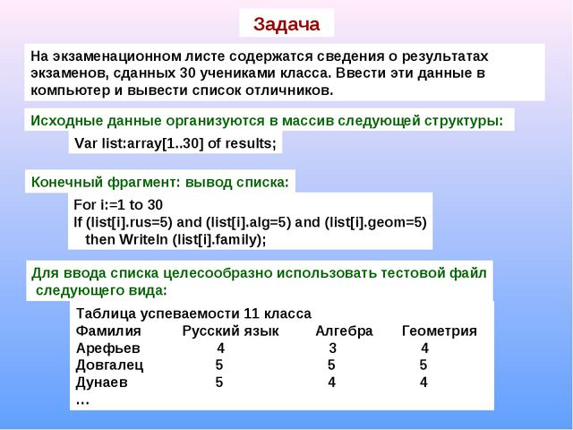 Задача На экзаменационном листе содержатся сведения о результатах экзаменов,...