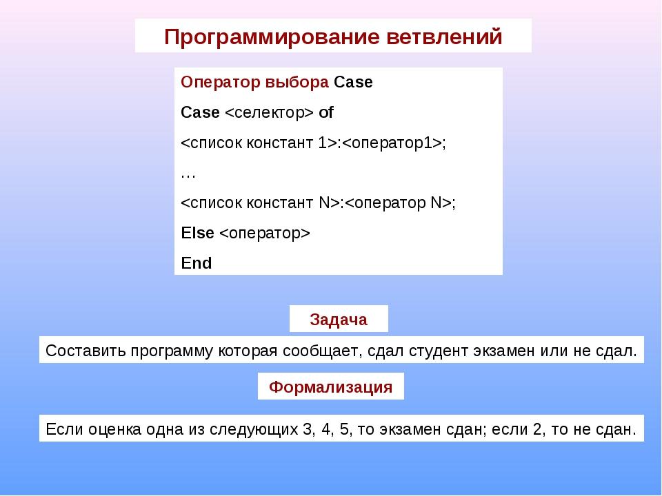 Программирование ветвлений Оператор выбора Case Case  of :; … :; Else  End За...