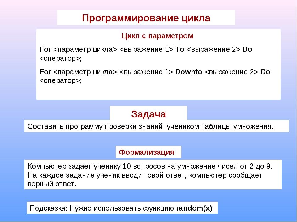 Программирование цикла Цикл с параметром For : To  Do ; For : Downto  Do ; За...