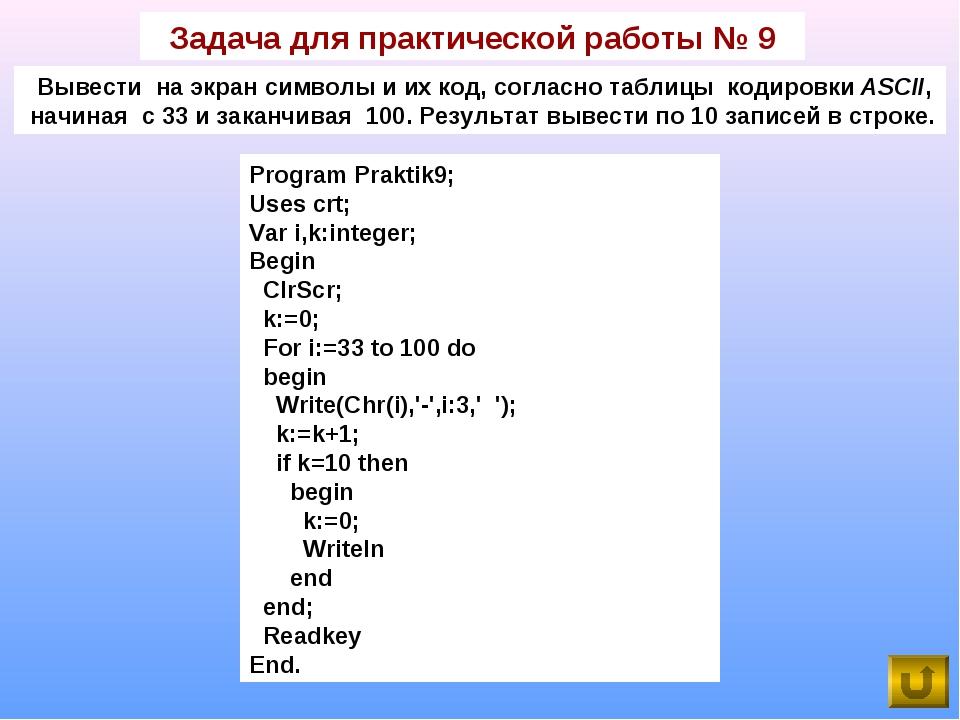 Задача для практической работы № 9 Вывести на экран символы и их код, согласн...