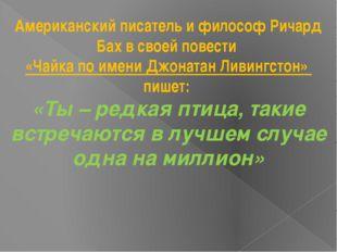 Американский писатель и философ Ричард Бах в своей повести «Чайка по имени Дж