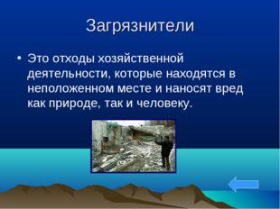 Загрязнители Это отходы хозяйственной деятельности, которые находятся в непол