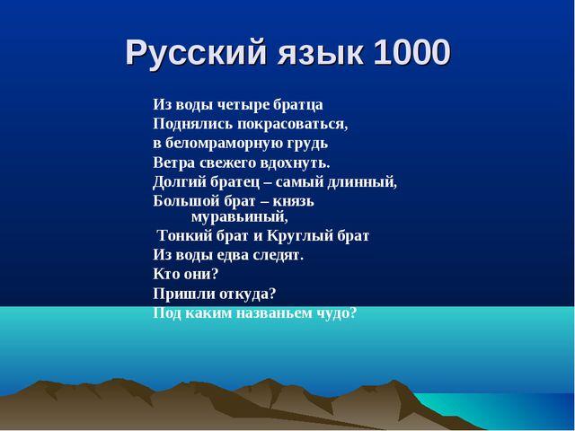 Русский язык 1000 Из воды четыре братца Поднялись покрасоваться, в беломрамор...