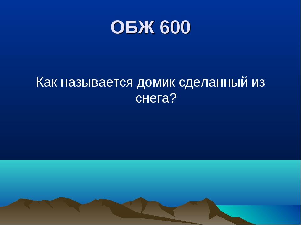 ОБЖ 600 Как называется домик сделанный из снега?