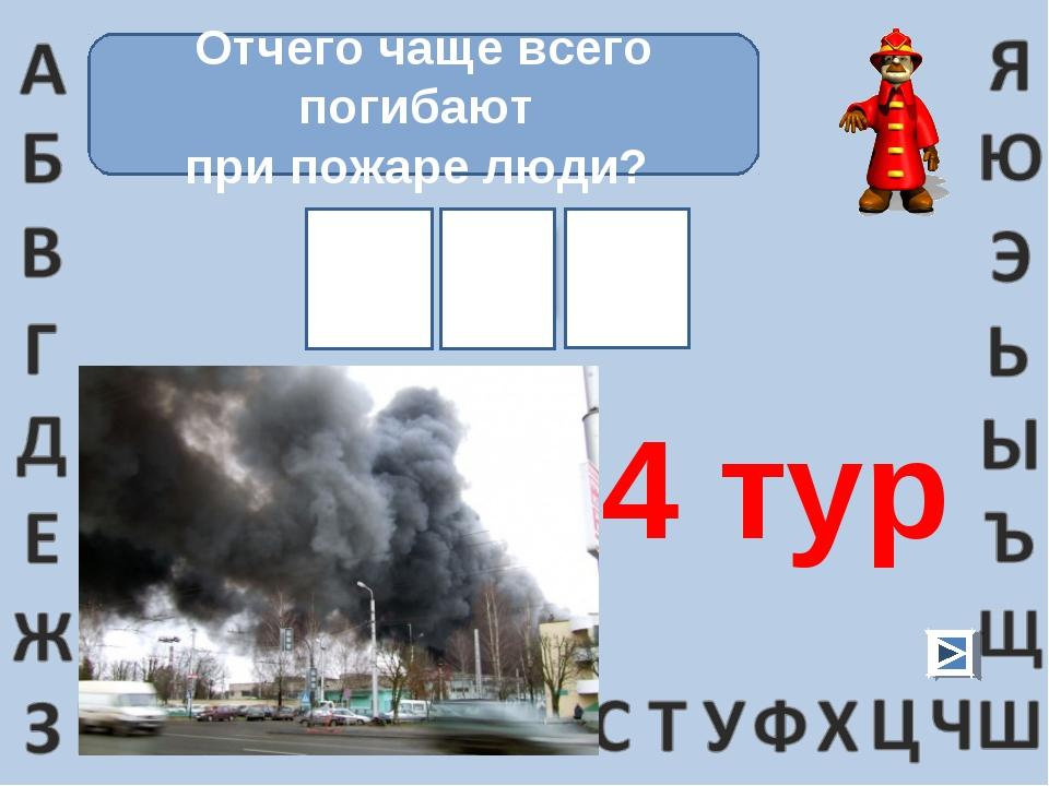 Отчего чаще всего погибают при пожаре люди? 4 тур