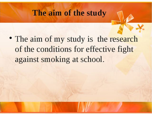 The aim of the study The aim of my study is the research of the conditions f...
