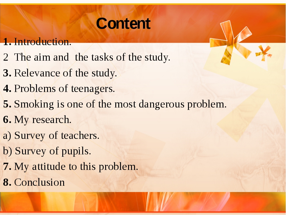 Content 1. Introduction. 2 The aim and the tasks of the study. 3. Relevance...