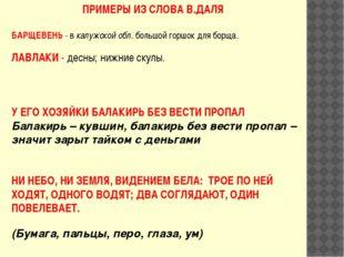 ПРИМЕРЫ ИЗ СЛОВА В.ДАЛЯ БАРЩЕВЕНЬ - в калужской обл. большой горшок для борща