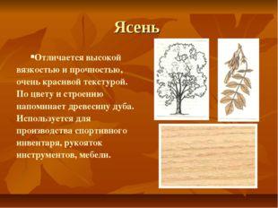 Ясень Отличается высокой вязкостью и прочностью, очень красивой текстурой. По