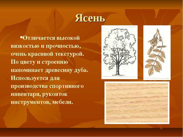Ясень Отличается высокой вязкостью и прочностью, очень красивой текстурой. По...
