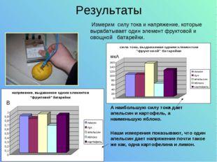 Результаты Измерим силу тока и напряжение, которые вырабатывает один элемент