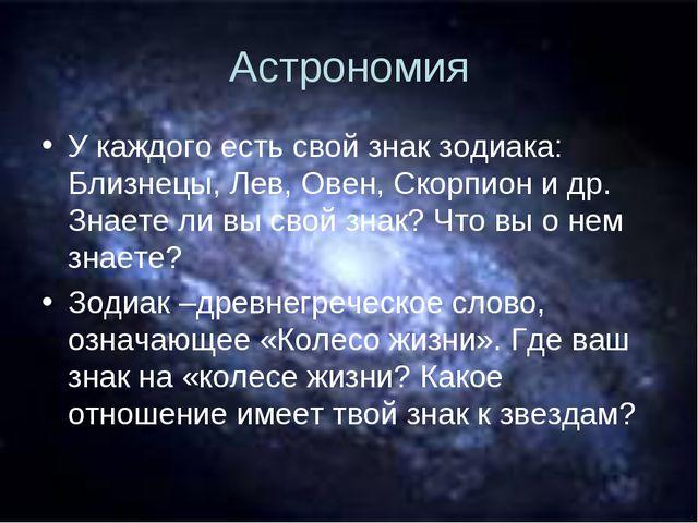 Астрономия У каждого есть свой знак зодиака: Близнецы, Лев, Овен, Скорпион и...