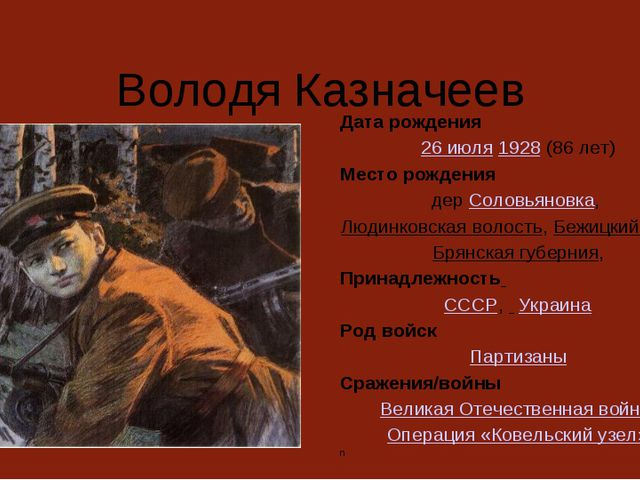 Володя Казначеев Дата рождения 26 июля 1928 (86 лет) Место рождения дер Соло...
