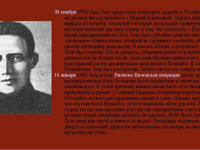 30 ноября 1941 года Толе предстояло очередное задание в Осташёве. Здесь он до...