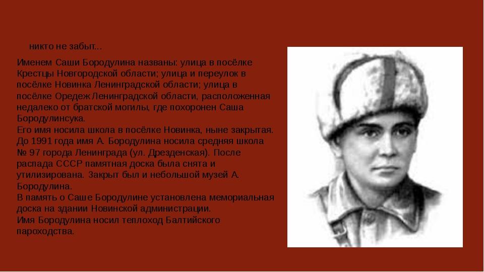 никто не забыт... Именем Саши Бородулина названы: улица в посёлке Крестцы Нов...