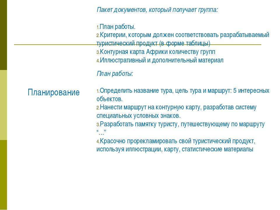 Пакет документов, который получает группа: План работы. Критерии, которым дол...