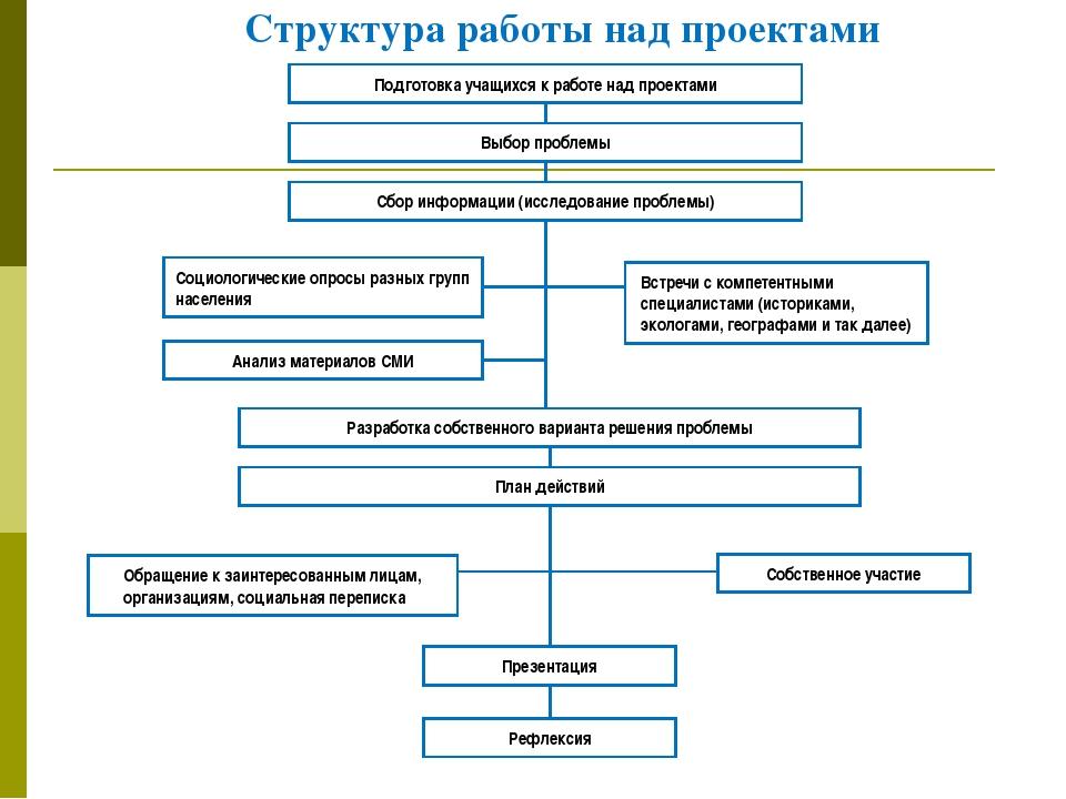 Подготовка учащихся к работе над проектами Выбор проблемы Сбор информации (ис...