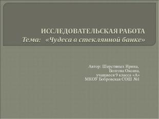Автор: Шерстяных Ирина, Болгова Оксана, учащиеся 9 класса «А» МКОУ Бобровска