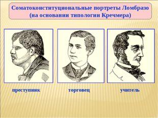 Соматоконституциональные портреты Ломбразо (на основании типологии Кречмера)