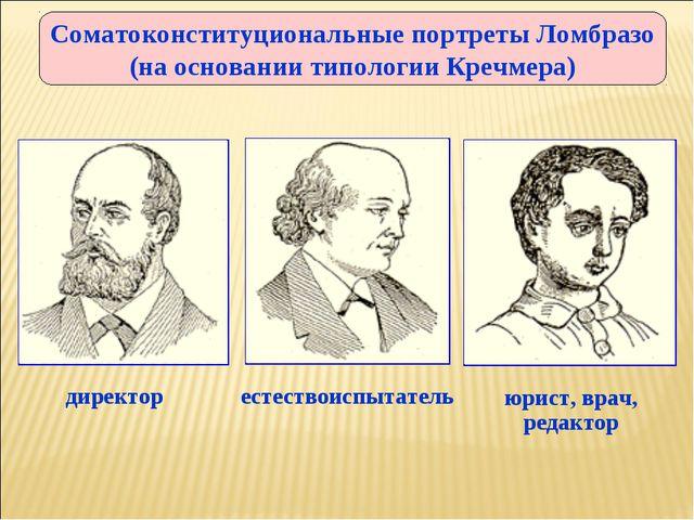 Соматоконституциональные портреты Ломбразо (на основании типологии Кречмера)...