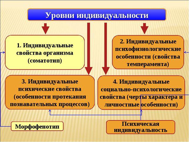 1. Индивидуальные свойства организма (соматотип) 3. Индивидуальные психически...