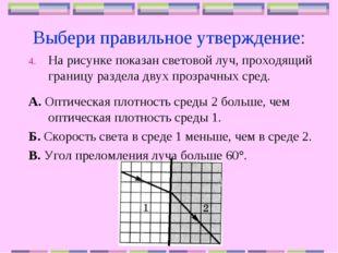 Выбери правильное утверждение: На рисунке показан световой луч, проходящий гр
