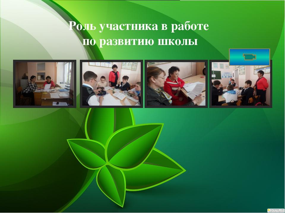 Роль участника в работе по развитию школы