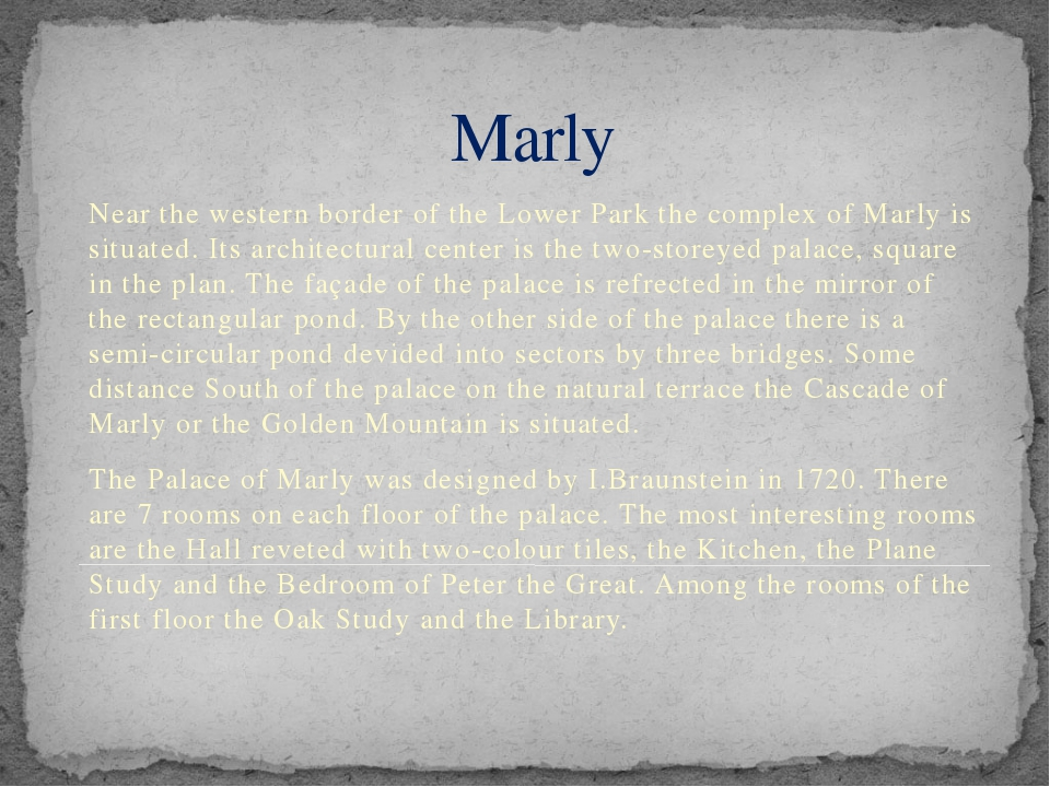 Marly Near the western border of the Lower Park the complex of Marly is situa...