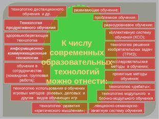 развивающее обучение; проблемное обучение; разноуровневое обучение; коллекти