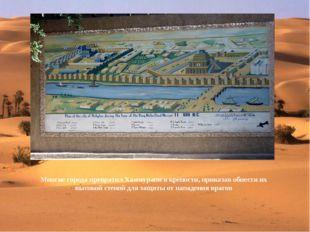 Многие города превратил Хаммурапи в крепости, приказав обнести их высокой ст