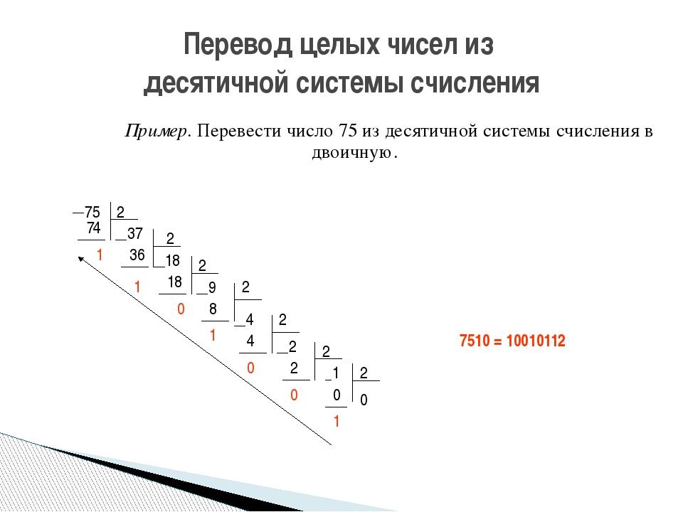 Пример. Перевести число 75 из десятичной системы счисления в двоичную. Пе...