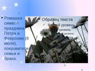 Ромашка - символ праздника Петра и Февронии (8 июля), покровителей семьи и б