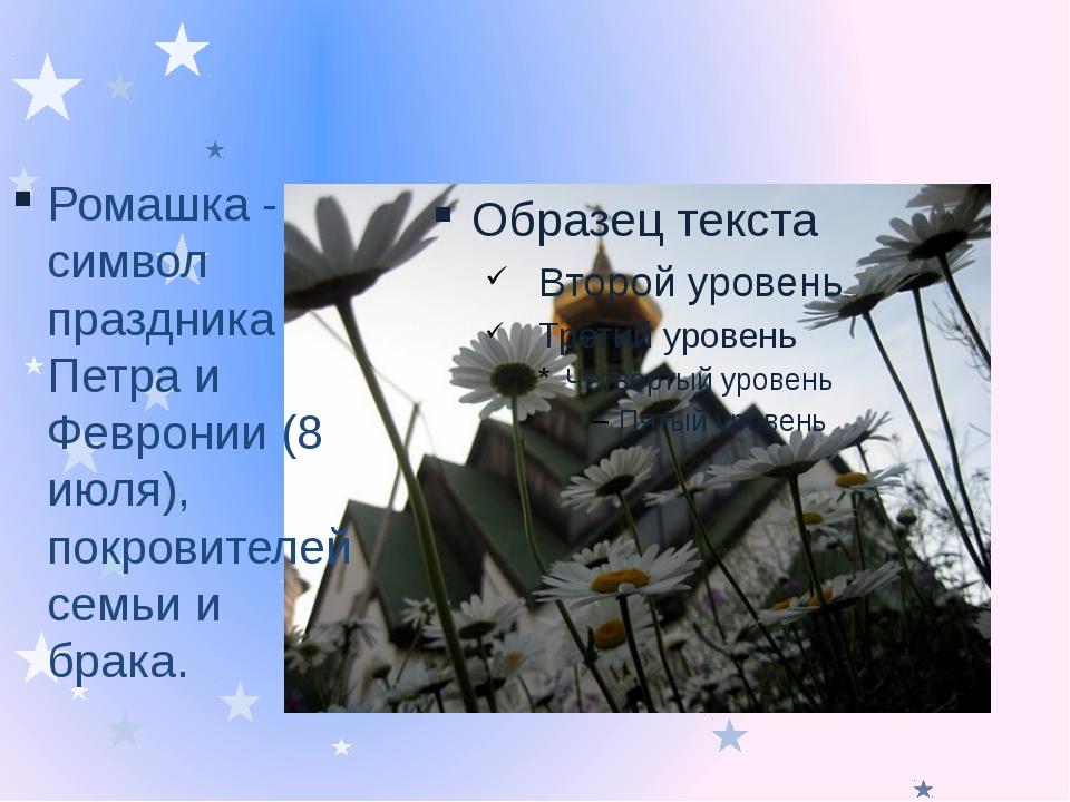 Ромашка - символ праздника Петра и Февронии (8 июля), покровителей семьи и б...