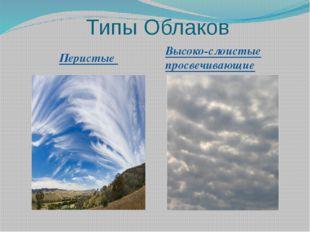 Типы Облаков Перистые Высоко-слоистые просвечивающие